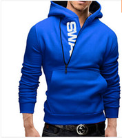 camisolas moleton bordado com capuz venda por atacado-2016 Hot Mens Collar Hoodies Slim Fit Oblíqua Com Zíper Casual Hoodies Moletons 5 cores 6 Tamanhos