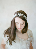 Wholesale Crystal Fascinators For Hair - 2016 Exquisite Bridal Hair Band New Shiny Girl's Party Headpieces with Pearls Beautiful Beads Real Image Jewelry Hairbands For Bride CPA458