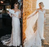 Wholesale romantic wedding dresses capped sleeves for sale - Group buy Romantic Lace Appliques Wedding Dresses Illusion Neckline Long Sleeves Sheath Bridal Gowns Modest Long Train Vintage Wedding Dress