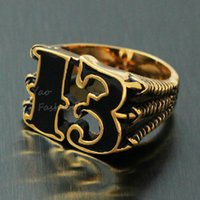 Wholesale Lucky Stainless Steel Ring - Men's Vintage 18K Gold Plated Black Friday Number 13 Stainless Steel Ring 1%er Outlaw Biker Enamel Dragon Claw Lucky No. 13 Band