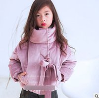 Wholesale Quilted Jacket Girl - Winter Girls coat Children Girls turtleneck quilted Jackets Fashion kids thicken Warm parka Kids lace-up BOWS zipper tops Overcoat R0675