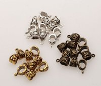 Wholesale Beads Connectors Silver - Hot ! Antiqued Silver,Gold ,Bronze 6mm Hole Charm Bail Connector Bead Fit Bracelet 7.5x13.5mm (mn34)