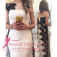 Wholesale Indian Style Evening Dresses - 2016 Gorgeous Black Evening Dresses Sonam Kapoor Indian Style Scoop Sheath Sexy Formal Prom Gowns Off-Shoulder Sheath Arabic Custom Made