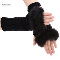 Wholesale Elbow Length Winter Gloves - Wholesale-Hot Sale Winter Elbow Length Warm Long Gloves Women Black White Arm Warmers Ladies Wool Knitted Fingerless Gloves YNN
