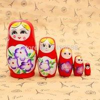 Wholesale Craft Dolls Wholesale - 1SET LOT Matryoshka Russian Nesting Doll Ethnic Dolls Fashion doll Home decoration Wood crafts Birthday gifts Christmas ornament