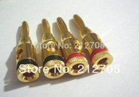 100pcs gold Musical Audio Cable del altavoz Cable 4mm Banana Plug Connector