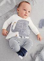 karikatür fil elbisesi toptan satış-Bebek karikatür Fil Çizgili Baskılı Suits 2015 yeni Çocuk Saf pamuk uzun kollu T-Shirt + pantolon 2 adet suit tulum bebek giyim