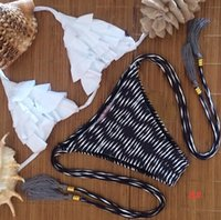 Wholesale Unique Push Up Bikinis - 2015 New Hot Sexy Unique Hand Knitting Floral Printing Tribal Triangle Print Push Up Bikinis Set Lady Brazilian Retro Swimwear 8 Designs CS