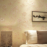 Wholesale Printed Backdrops - Nature Silk Fiber Non-woven Wall Paper Chinese Style Bird Floral Trees Pastoral Printed Mural WallPaper For Livingroom Backdrop