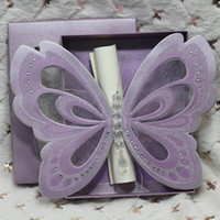 Wholesale Elegant Purple Invitations - 50Piece Wholesale Free Shipping Butterfly Scroll Wedding Invitations Elegant Customized Wedding Invitation Cards Purple White Ivory In A Box