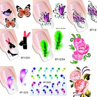 Wholesale Decorative Stamps - Wholesale-60Sheets XF1181-XF1240 New Water Transfer Nail Art Stickers Decal Cartoon Flower Feather DIY 3d Decorative Foils Stamping Tools