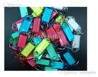Wholesale Keyring Labels - Wholesale-20Pcs Assorted Color Crystal Plastic Key ID Label Tags Card Split Ring Keyring Keychain AE01557
