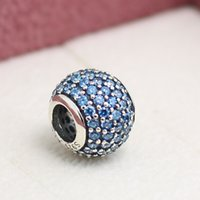Wholesale Pandora Teal - 925 Sterling Silver Pave Ball with Teal Cubic Zirconia Charm Bead Fits European Pandora Jewelry Bracelets & Necklaces