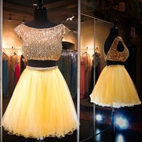 Wholesale Yellow Gold Gown Dresses - Luxury Beaded Crop Top Prom Dresses 2016 Two Pieces Dresses Boat Neck Short Sleeve Ruffles Ball Gown Gold Yellow Prom Dress Homecoming Dress