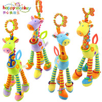 Wholesale Infant Giraffe - 2017 happy monkey Plush Infant Baby Development Soft Giraffe Animal Handbells Rattles Handle Toys Hot Selling WIth Teether Baby Toy