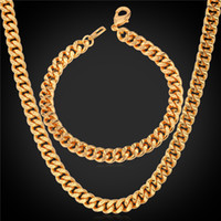 Wholesale Pink Gold Statement Necklace - U7 Statement Link Chain Necklace Bracelet Set 18K Real Gold Plated Chains Fashion Men Jewelry Accessories Punk Necklaces Chains