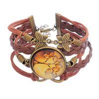 Wholesale Gemstone Wristbands - Vintage Gemstone Glass Life Tree Cabochon Infinity Charms Multilayer Braided Bracelet Wristband Cuff Leather Bracelet For Women Men