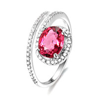 Compra Tormalina In Oro Massiccio-Spedizione gratuita 14K Solid White Gold Natural Pink Tourmaline Fidanzamento Diamonds Wedding Ring (R0062)