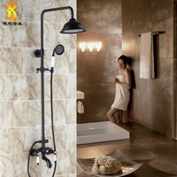 Wholesale Stand Shower Faucets - Free shipping! black Antique Brass Rotatable Lifting Shower Set Faucet Dual Handles Bathroom Shower Mixer Tap with Handshower