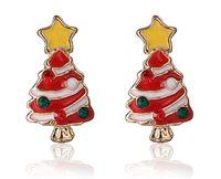 Wholesale Studs 5g - Christmas Tree Stud Earrings Korea Fashion Exquisite Diamond Cute Christmas Gift 20mm 5g Alloy + Enamel Rhinestone
