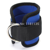 Wholesale Resistance Straps For Exercise - Black Blue Ankle Anchor Strap Pad Durable for Resistance Bands Leg Tubes Fitness Exercise Strength Training Free Shipping