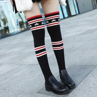 Wholesale Thigh High Black Knit Socks - Luxury Brand Socks Boots Women Over The Knee High Boots Autumn Winter Knitted Shoes Long Thigh High Boots Elastic Slim
