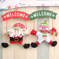 Wholesale Christmas Wholesale Wreath Supplies - Christmas Decoration Welcome Door Garlands Hanging Fabric Santa Snowman Wreath Door Pendants Ornament Plush Toys Party Supplies YFA62