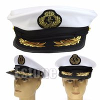 Wholesale Navy Sailor Dress - Wholesale-New for White Adult Yacht Boat Captain Navy Cap Costume Party Cosplay Dress Sailor Hat