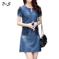 Wholesale Dresses Women Jean - New summer denim dress hot sale women loose fashion jean dress Cotton lady slim short sleeve plus size High Quality Vestido 302