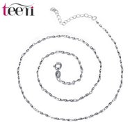 Wholesale Crystal Chokers For Brides - Teemi Brand Wholesale Jewelry S925 Sterling Silver Necklace Chains Button flakes Charms Choker for Women Girl Bride Gift Wedding Accessories