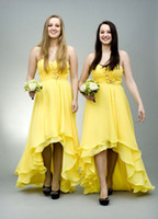 2016 Summer New Stylish Cheap High Low Bridesmaid Dresses in Yellow Spaghetti Straps Front Short Long Back Сексуальное платье для свадьбы