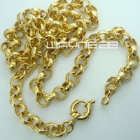 Wholesale Womens 18k Gold Rings - 18k gold Filled belcher bolt ring Link mens womens solid necklace jewellery N220