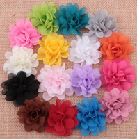 Wholesale Tulle Flowers For Hair - Baby Girls 5cm Chiffon Tulle Fabric Flowers For DIY headbands Christmas Headwear Headbands Hairpin Hair Styling Accessories AW05
