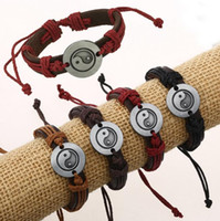 Wholesale tai chi charms - 2016 Newest Fashion Rope Leather Bracelets Handmade Taoist Tai Chi Yin & Yang Surfing Bangles Adjustable Personality Lover Jewelry Y093
