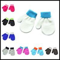 Wholesale Children White Winter Gloves - Newest Knitting Winter Autumn Crochet Warm Glove Children Boys Girls Mittens Unisex Kids Gloves 11 Colors Availuable