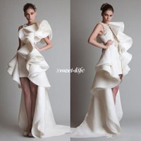 Wholesale One Piece Bridal Gown - Sexy 2016 Prom Dresses One Shoulder Applique Ruffles Sheath Hi-Lo Organza Occasion Pageant Dress Krikor Jabotian Tiered Bridal Evening Gowns