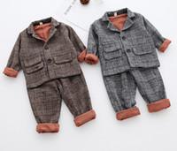 Wholesale Wholesale Boys Blazers - 2018 New kids plaid outfits children woolen lapel single breasted long sleeve patch blazers outwear+elastic plaid pants 2pcs sets R1549