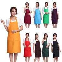 Wholesale Order Mixed Kitchen - Hot Sale New Fashion Women And Girls Simple Practical Solid Kitchen Restaurant Bib cooking Aprons With Pockets 30 Color Mixed order ZJ16-B02