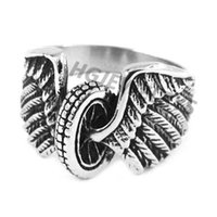 Wholesale Eagle Wings Rings - Free shipping! Eagle Wings Motorcycles Tire Biker Ring Stainless Steel Jewelry New Design Fashion Motor Biker Men Ring SWR0313H