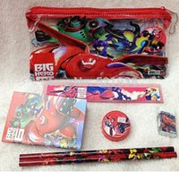 20 Sets Fashion Big Hero 6 Schulbüro 7 IN 1 Bleistifttasche Bleistift Ruler Netbook Eraser Sharpener Stationery Set
