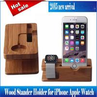 apfel iphone steht großhandel-Neuheiten Apple Watch iPhone Holz Bambus Ladestation Halterung Docking Station Holzhalter Ständer für iWatch Apple Phone