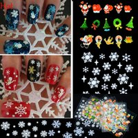 Wholesale Christmas Nail Stickers Foil - 12 Sheet Water Foil Nail Sticker Christmas Snowflake Santa Snowman Tree Manicure Decor Decals Nail Art Tools Design Decoration Hot 19346