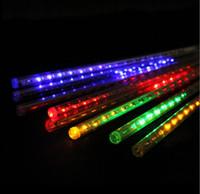 Wholesale Rain Drop Led Lights - Meteor Shower Rain LED Light Tubes Christmas Outdoor Lights Lighting 50CM 8cps Tube LED Waterproof Party Xmas Fairy Led Light