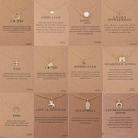 Wholesale circle pearl necklace - 12 Styles Dogeared choker Unicorn Necklaces With card Gold Circle Elephant Pearl Love Wings Cross Pendant Necklace For Women