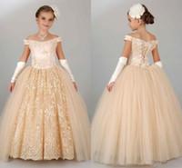 Wholesale Wedding Corsets Blue - Off Shoulder Lace Girls' Pageant Dresses Appliques Princess Ball Gown Flower Girls' Dresses Children Corset Back Birthday Party Wedding Wear