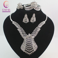 Wholesale Costume Big Necklace Sets - Fashion Dubai Gold  Silver Plated Crystal Jewelry Sets Costume Big Design Nigerian Necklace Earrings Bracelet Ring Wedding African Beads Jew