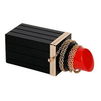 Wholesale Lips Shaped Clutch - Red black lipstick clutch handbag Acrylic evening bag sexy lady Lips makeup organizer purse Wedding Shoulder Bags Bucket shape