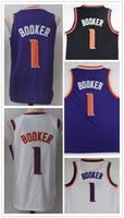 Wholesale Fan Goods - 2018 Good Quality New fan 1# Devin Booker Jersey Booker Basketball Jerseys All Stitched purple white Free Shipping