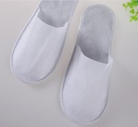 Wholesale One Time Slippers Hotel - 50pairs one-time slippers disposable shoe home white sandals hotel babouche travel shoes free shipping