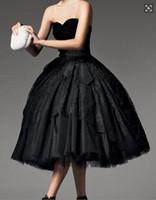 top kılıfı toptan satış-Balo Siyah Dantel Abiye Katmanlı Çay Boyu Gelinlik Kılıf Ile Straplez Kadife Kız Parti Abiye
